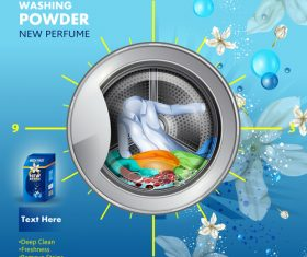 Washing powder advertising poster template vector 02