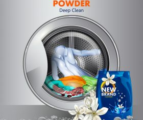 Washing powder advertising poster template vector 03