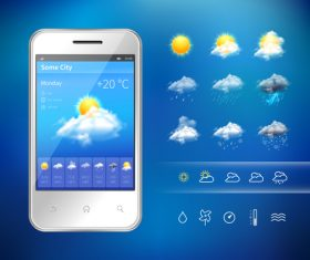 Weather symbols and app Interface vector 02