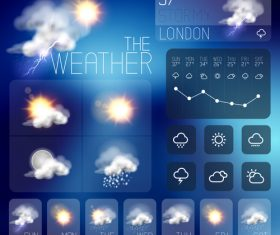 Weather symbols and app Interface vector 05