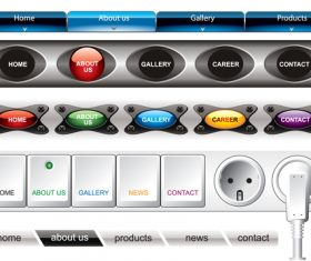 Website menu with 3D buttons vector material