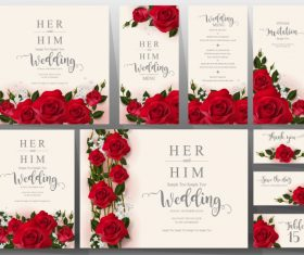 Wedding cards with beautiful roses vector 01