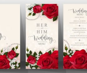 Wedding cards with beautiful roses vector 02