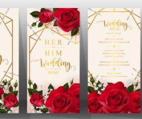 Wedding cards with beautiful roses vector 03