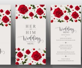 Wedding cards with beautiful roses vector 04