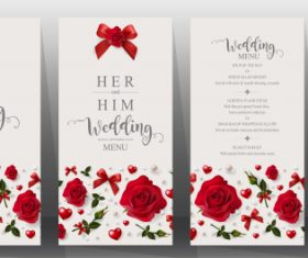 Wedding cards with beautiful roses vector 05