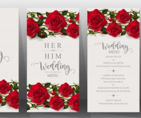 Wedding cards with beautiful roses vector 06