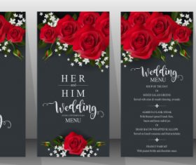Wedding cards with beautiful roses vector 07