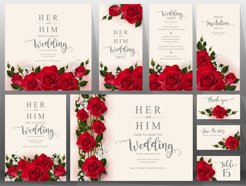 Wedding Invitation Cards With Red Rose Vector 01