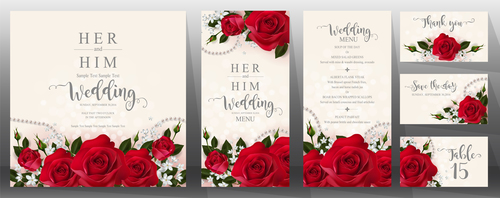 Wedding invitation cards with red rose vector 02