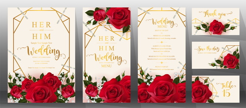 Wedding invitation cards with red rose vector 03