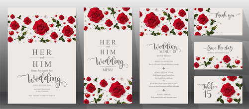 Wedding invitation cards with red rose vector 04