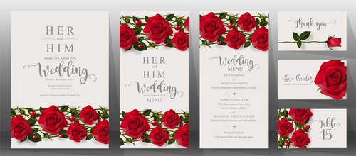 Wedding invitation cards with red rose vector 05