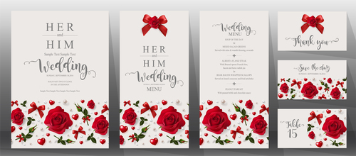 Wedding invitation cards with red rose vector 06