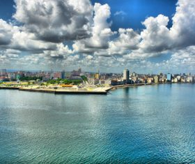 White clouds over the city Stock Photo