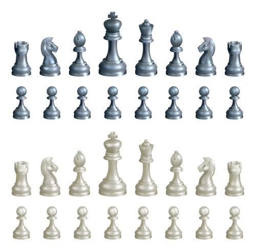 White with blue figure chess vector material