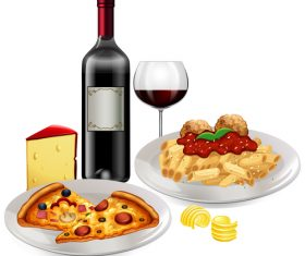 Wine with fast food vector material 01