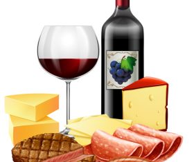 Wine with fast food vector material 02