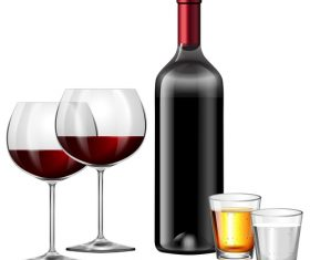 Wine with glass cup vector design