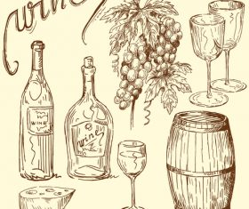 Wine with grapes hand drawn retro vector