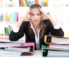 Woman who cant relieve work stress Stock Photo 01