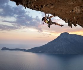 Woman who loves outdoor climbing Stock Photo 01