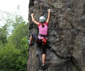 Woman who loves outdoor climbing Stock Photo 03