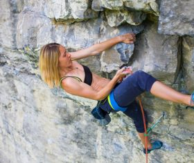 Woman who loves outdoor climbing Stock Photo 05