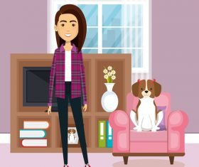 Women and pets in room interior vector material 01