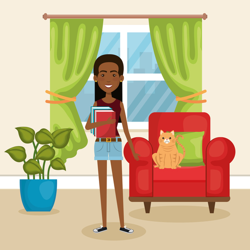 Women and pets in room interior vector material 02