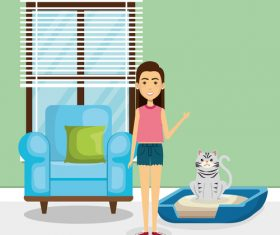 Women and pets in room interior vector material 03