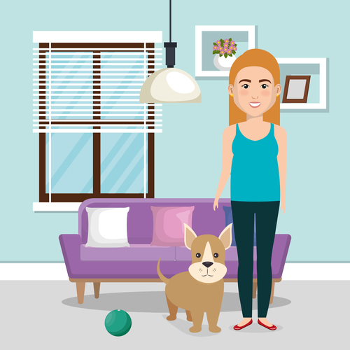 Women and pets in room interior vector material 04
