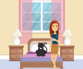 Women and pets in room interior vector material 05
