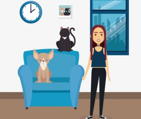 Women and pets in room interior vector material 06