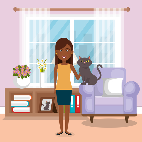 Women and pets in room interior vector material 07
