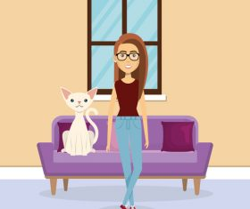 Women and pets in room interior vector material 08