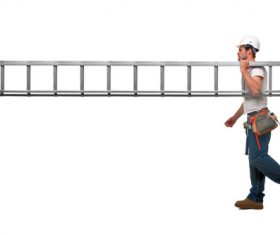 Workers carrying ladder Stock Photo