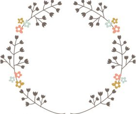 Wreath hand drawn vector 01