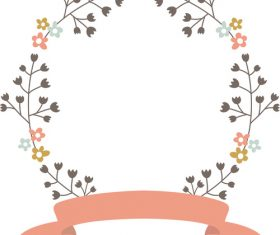 Wreath with ribbon vector material