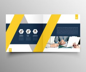 Yellow styles business brochure template vector 02