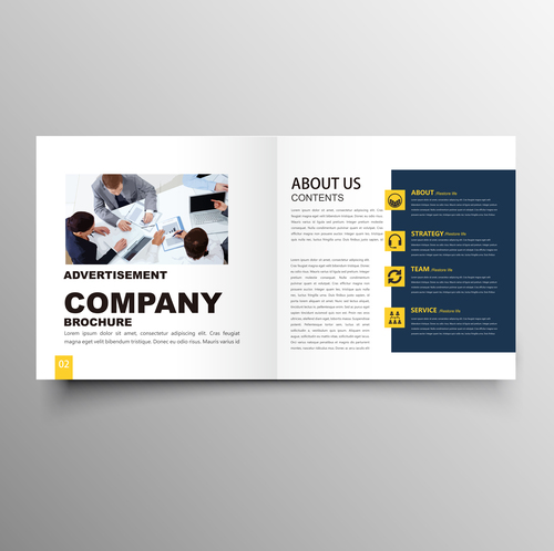 yellow styles business brochure template vector 03 free download