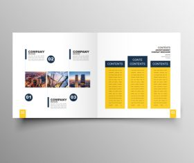 Yellow styles business brochure template vector 05