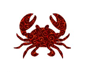crab spiral pattern design vector