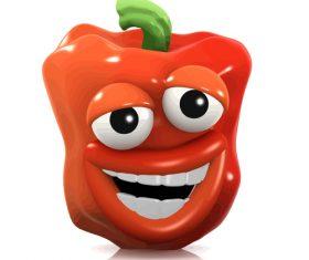 eyes red pepper grin cartoon vector