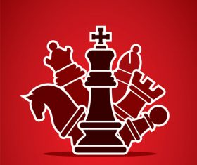 figure chess with red background vector