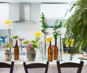 fresh flowers decoration in kitchen Stock Photo