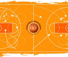 grunge basketball field vector