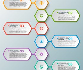 hexagon option infographic template vector 01