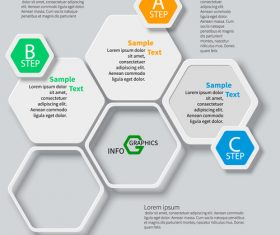 hexagon option infographic template vector 05
