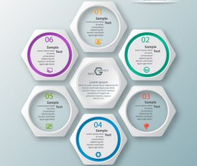 hexagon option infographic template vector 10